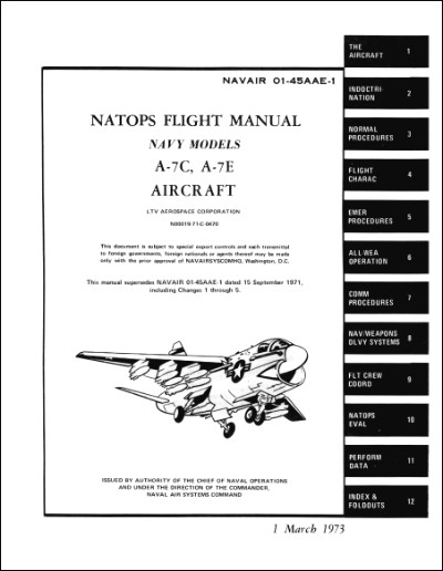 Vought LTV A-7C, A-7E Flight Manual (part# NAVAIR 01-45AAE-1)