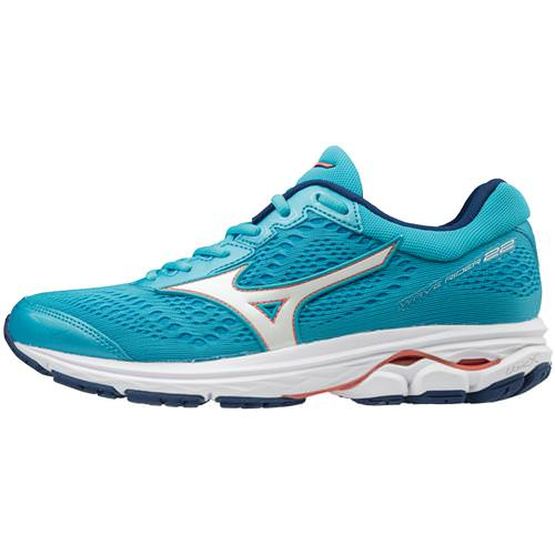 Mizuno Wave Rider 22 Women's Wide D Blue Atoll Georgia Peach 410998.5Z17