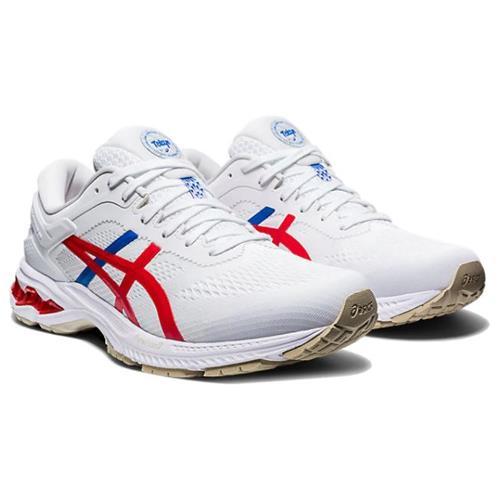 Asics Gel Kayano 26 Retro Tokyo Women's Running Shoe White Classic Red 1012A654 100