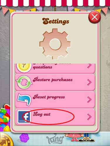 Candy Crush Saga Tips how to change your facebook account using iPad or iPad Mini 1