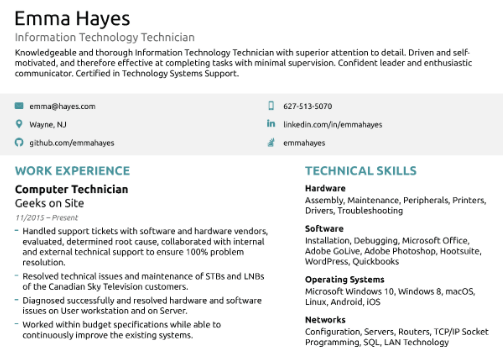 Part of Resume