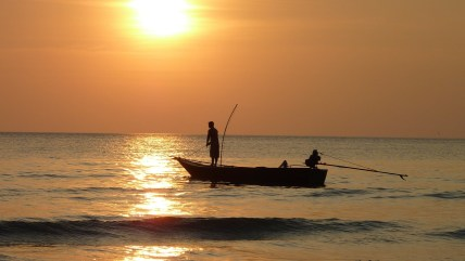 sunset, boat