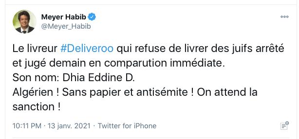 """Affaire du """"Deliveroo antisémite"""" : Kalifat (CRIF) veut """"lever l'anonymat"""" sur Internet"""