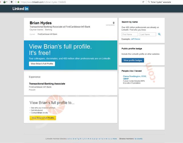 Capture d'écran du profil Linkedin de Brian Hydes