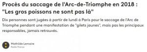 """Dix Gilets jaunes devant la """"justice"""" pour le """"saccage"""" de l'Arc de Triomphe en 2018"""