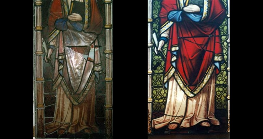 Church of the Holy Trinity Toronto Ontario EGD Glass Restoration - Stained Glass Damage Before After