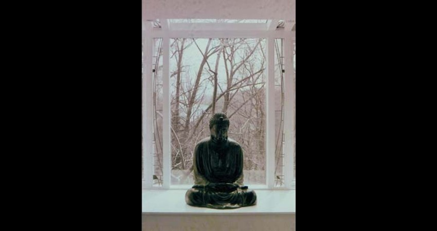 Private Residence High Park Toronto New Work Original Stained EGD Glass Buddah