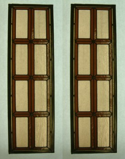 Reclaimed stained glass for sale. Red and beige leaded door panels. EGD Glass.