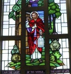 Reclaimed stained glass window for sale, Jesus I am the Light of the World