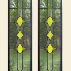Reclaimed stained glass for sale. Yellow and green door panels EGD Glass