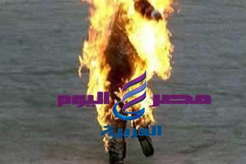 شاب يشعل النار في نفسه خوفا من لحق الشرطه بها  