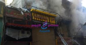 حريق فى شقة تجارية بالموسكى ورجال الحماية المدنية تحاول إخماده