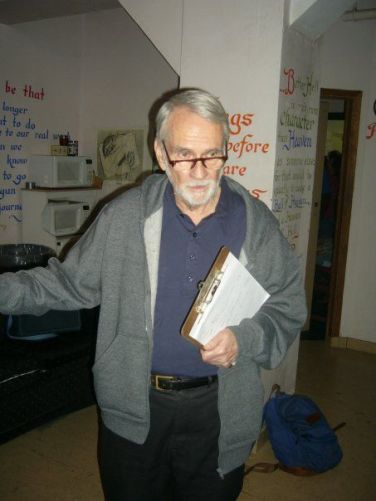 "George Morrison at New Actors Workshop @Studio B. George's approach into acting training combined Method Acting with Viola Spolin's method. Every other day he used to come to the class with a new warm up, or exercise for us to try. ""Dare.... to bore."" E: But they can't hear me.. G: What if they do?"