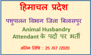 Read more about the article Animal Husbandry Attendant Recruitment 2020 – District Bilaspur