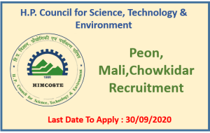 Various Vacancy in HP Council for Sci.Tech.& Env.