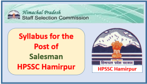 Syllabus for the Post of Salesman – HPSSC Hamirpur