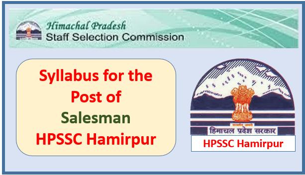 Syllabus for the Post of Salesman – HPSSC Hamirpur