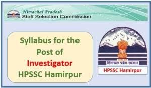 Syllabus for the Post of Investigator (Economics & Statistics)-HPSSC Hamirpur