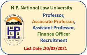 HP National Law University Recruitment : Apply Now