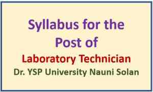 Dr. YSP University Nauni Solan Laboratory Technician Syllabus