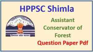 HPPSC ACF Pre Exam Question Paper Pdf