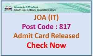 HPSSC JOA IT Admit Card 2021 Download