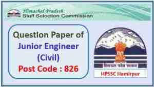 HPSSC JE Civil Post Code 826 Question Paper 2021