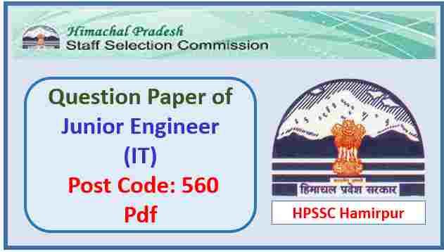 HPSSC Junior Engineer (IT) Question Paper Pdf