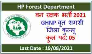 Read more about the article HP Forest Guard Recruitment 2021-GHNP Shamshi