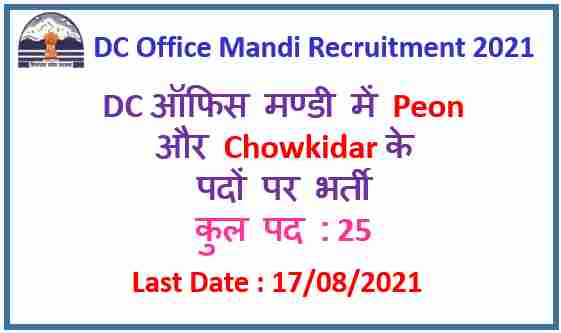 Read more about the article DC Office Mandi Peon Recruitment 2021 : Apply Now