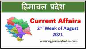 Read more about the article HP Current Affairs – 2nd Week of August 2021