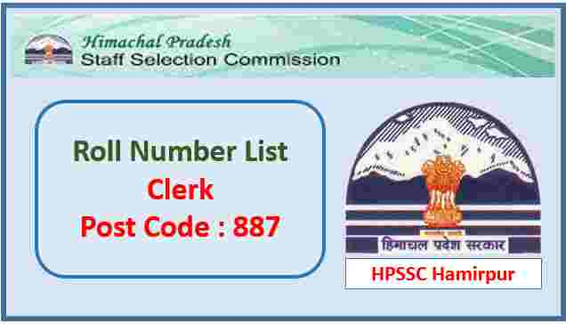 Read more about the article Roll Number List for the Post of Clerk Post Code 887 -HPSSC Hamirpur