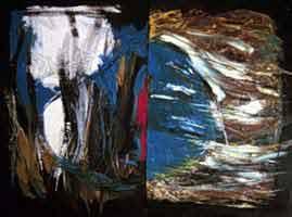 """Interaction III Oil & acrylic on wood 31"""" x 42"""""""