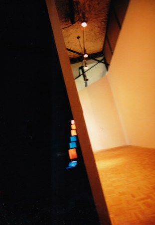 Video installation in a narrow hallway