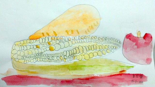 另一趣味性強的處理方法 -- 將粟米粒連串,表現粟米的結構。另外,自擬陰影的顏色(紅),與蘋果互相呼應。