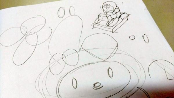 右上方是我的示範,以幾個圓形繪畫物件(叮噹公仔)。
