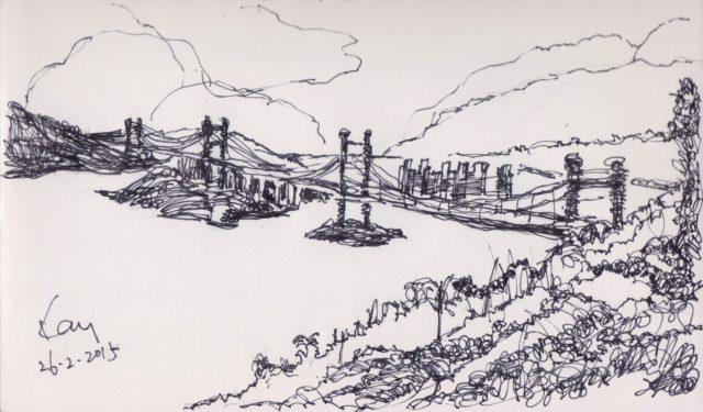 青馬大橋 墨水筆 14 x 21.6 cm