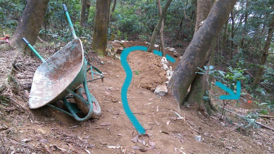 走藍線約十米後入彎,並繼續向下,接回原來路線。