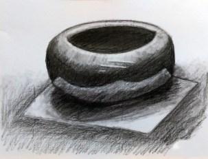 初次接觸碳筆的學生,在素描的基礎上,慢慢體會碳和鉛的分別。