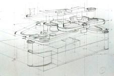 從上向下畫,以透視技巧畫出「透明」的結構。