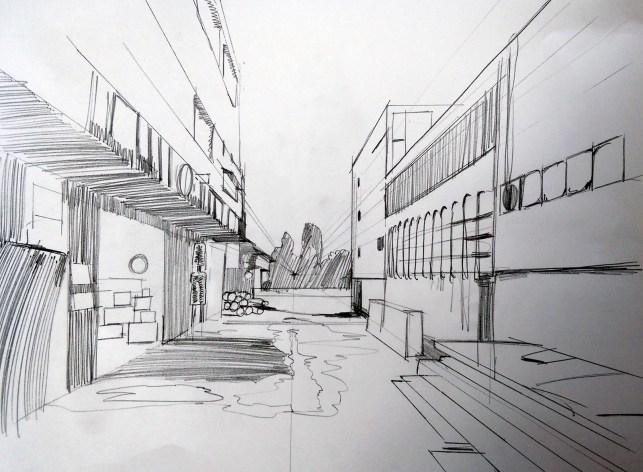 匆匆幾筆,描繪後巷一點透視結構。