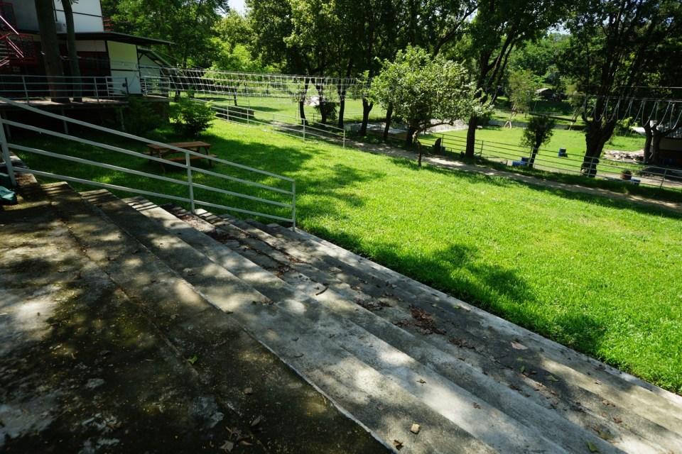起步後即落樓梯,迎來是大片草地。(樓梯旁有斜路替代路線,適合一般技術水平參加者)