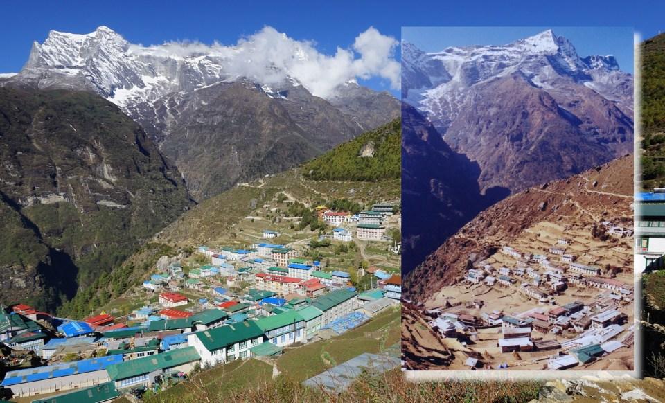 又來新舊對照 -- 看看 90 年代的 Namche,沒有變化的只是背後的雪山。