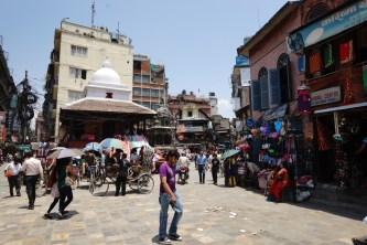 Thamel 至皇宮的中間有一個熱鬧的市集,每天下午四、五點時擠滿人、汽車、電單車、牛、羊、小販,動彈不得。