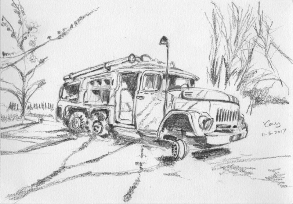 Chernobyl NNP(切爾諾貝爾核電站)外的消防車