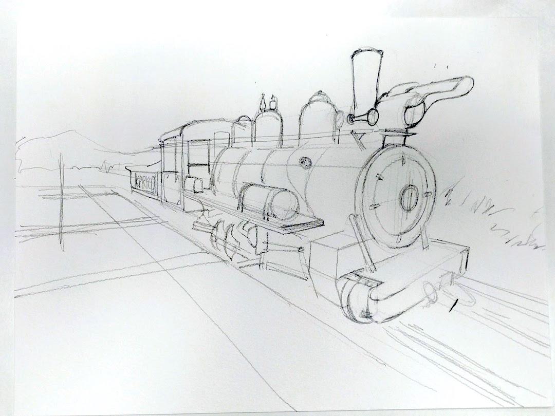 火車停泊月台的情景是簡單的兩點透視。
