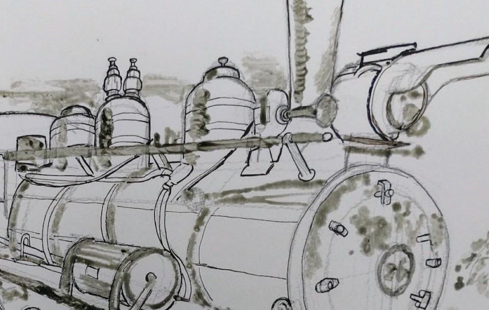 火車頭是一件巨大的金屬,因此上水彩前,先以油性筆加強它的輪廓。