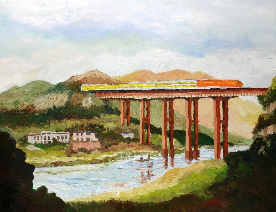 《白石渡鐵路橋》油畫