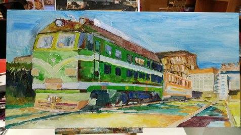 火車頭左側本來是一幢房屋,畫中被抹去,展示屋後的金雞嶺。