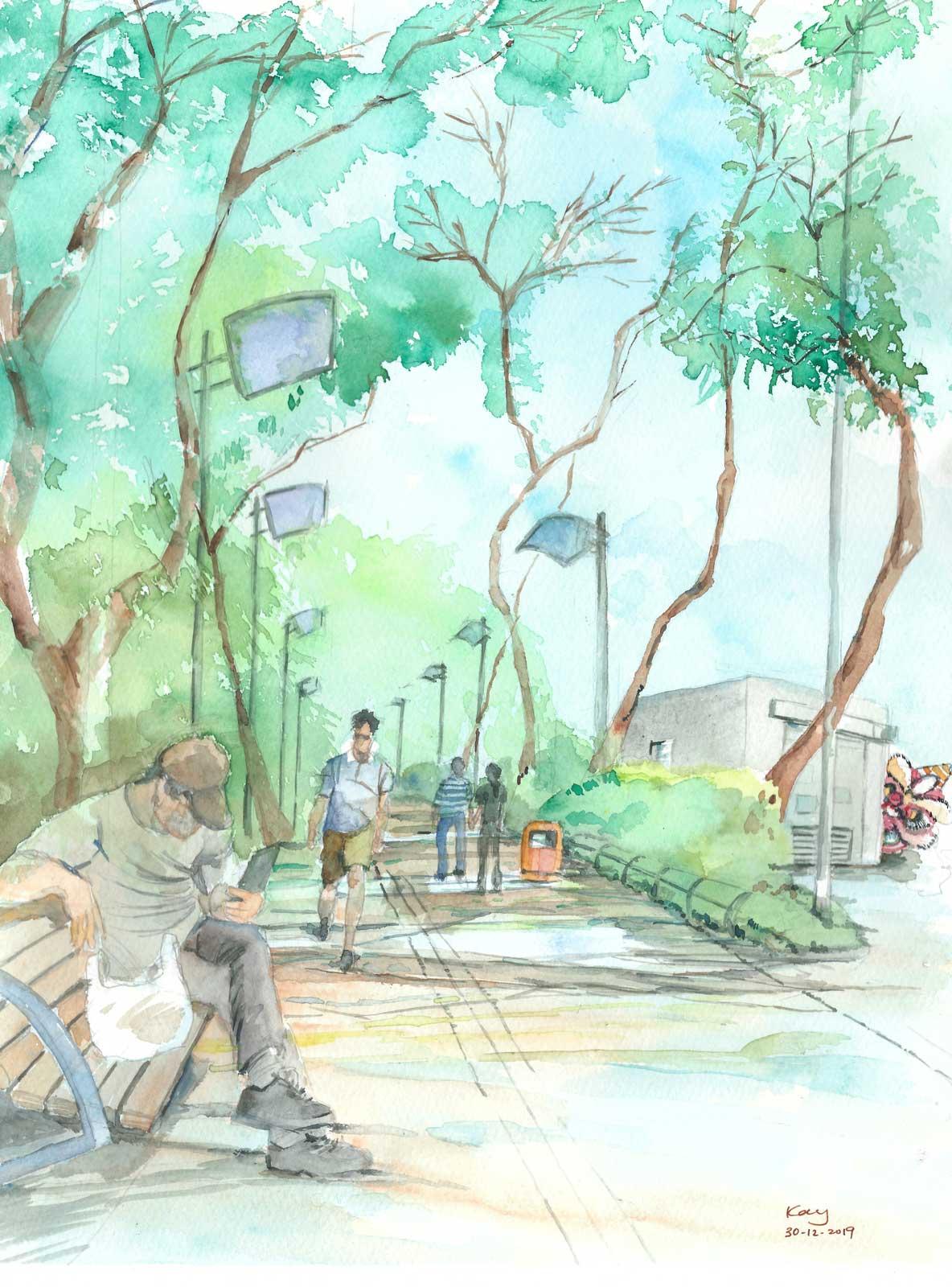 《維多利亞公園》(課堂示範)水彩 29.4cm x 38.5cm 30-12-2019